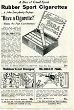 1929 small Print Ad of Rubber Sport Para Cigarettes, Rubber Coat Hanger & Nail