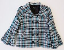 NWOT Samuel Dong Black/Blue/White Plaid Double Buttoned Jacket Size M MSRP $195