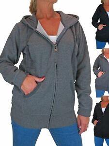 Women's Soft Longline Cotton Sweatshirt Hoodie Jacket 12-22