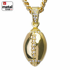 "Men's Mini Hip Hop Football Shape Pendant 24"" Cuban Link Chain CPB 1120 G"