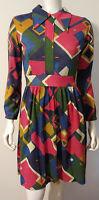 Vintage 60s 70s Knit Dress Mod Hippy 8 10 Red Blue Orange Green LS