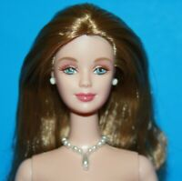 BARBIE Champagne BLONDE Hair NUDE Doll Twist at Waist PEARL DROP Necklace