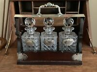 Stunning c1900's Edwardian Oak & Silverplate Tantalus With Cut Glass Decanters