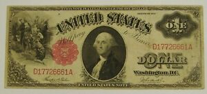 1917 Large Size $1 Legal Tender U.S. Note - Tehee / Burke - Well Circulated
