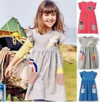 Mini Boden lovely girls jersey applique pocket dress blue pink grey age 2 - 12
