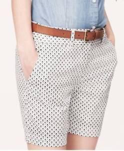 Ann Taylor LOFT Shorts Spade Print Riviera Stripe sizes 4 6 Versatile