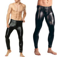 Sexy Men's Faux Leather Wetlook Tight Pants Leggings Clubwear Zip Long Trousers