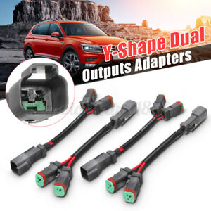 "2 pack 7"" LED Fog Y-Shape Dual Outputs Deutsch DT DTP Adapters Connectors"