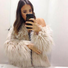 Womens Fluffy Faux Fox Fur Jacket Cardigan Coat Tops Outwear Winter Warm Parka
