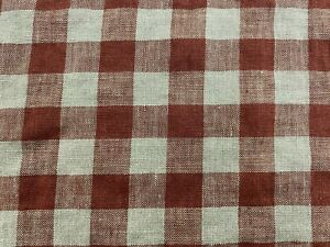 French Vintage Linen Gingham Check Rust  Grey Curtain/upholstery Fabric
