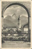 Traunstein, Ortspartie mit Kirche, Alpenpanorama, alte Ansichtskarte von 1943