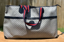 Vintage Gucci Leather Canvas Large Tote Bag Purse GG Monogram Made In Italy