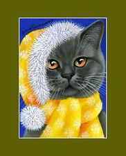 Christmas British Blue Cat ACEO Merry Christmas by Irina Garmashova