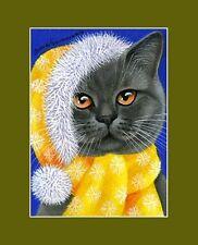 Christmas British Blue Cat ACEO Merry Christmas by Irina Garmashova
