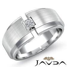 Mens Wedding Band Matt Brushed Princess Bezel Diamond Ring 14k White Gold 0.25Ct