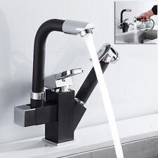 360° drehbar Küchenarmatur Spültisch schwarz herausziehbar Brause Schwenkbar