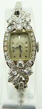 Hamilton Vintage Platinum 14K White Gold Diamond Ladies Luxury Wrist Watch