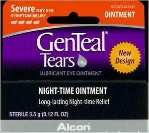 GenTeal Tears Lubricant Eye Ointment, Night-Time Ointment 0.12 oz (Pack of 4)