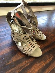 "carlos santana shoes Wedge Sandals Sz 6.5 Beige ""Becca"""