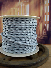 SILVER GRAY - Cloth Covered Electrical Wire 25 ft - Braided wire - Fabric wire