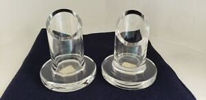 Crate Barrel Pointe Candle Holder Set Of 2 Clear Glass 355-976 Hungary 4 Inch
