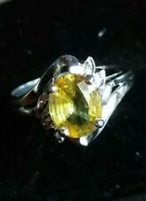 Authentic Natural lime green Sphene & diamond solid 9ct white gold ring .N-O