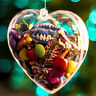 5Pcs Heart Clear Plastic Ball Hanging Open Bauble Ornament Christmas Tree Decor