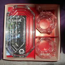 west german walther glass set,tray,cream and sugar, in box