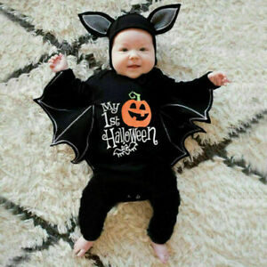 Newborn Baby Boys Girls Halloween Cosplay Costumes Romper Jumpsuits+Hats Outfits