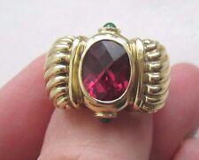 David Yurman ALL 14k Yellow Gold Renaissance Ring Oval Amethyst Onyx 14 GR Sz 5