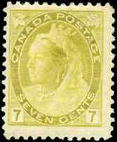 Canada #81 mint F-VF OG H 1902 Queen Victoria 7c olive yellow Numeral CV$162.50