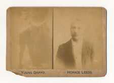 1890s Champion Boxing Glove Co YOUNG GRIFFO & HORACE LEEDS Boxing Cabinet Photo