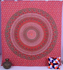 Mandala Art Red Hippie Queen Wall Hanging Bedspread Decor Indian Tapestry Throw