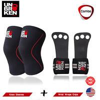CrossFit knee sleeves + Gloves Wrist Wraps Grips COMBO kneecap support men women