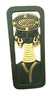Wood Carve Panel Small Wall Hanging Picture Home Asian Gift Long Neck Tribe Lady