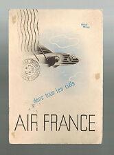1937 Hanoi Vietnam Air France Postcard Airmail cover to France