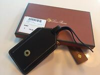 175$ Loro Piana Black Leather Name Tag Made in Italy