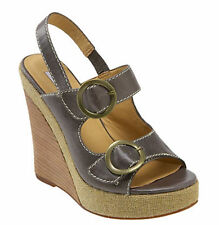 Steve Madden Wedge Sandals Leather 7.5.38 may fit 8 Gray Gold Buckle EUC CHAROOS