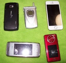 lot of 5 cell phones, iphone, blackberry, used sold as is