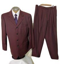 Sartoria Bellini Mens Suit 4 Button Jacket 42L Burgundy Black Checks 34x32 Pants