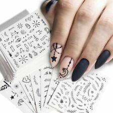 Nail Art Water Transfer Set Decals Sticker Wraps Tips Decor Manicure Black Lace