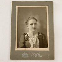 Antique Cabinet Card Photograph Beautiful Young Woman Crete, Nebraska