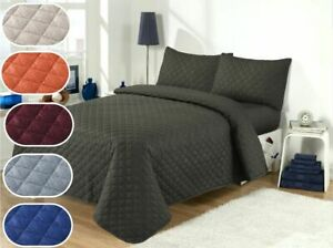3PCS Satin Embossed Quilted Bedspread Throw & Pillow Cases Double Bed King Size