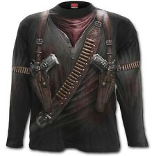 Men's Fancy Dress Halloween Spooky Gothic Punk Skeleton Vamp Long Sleeve Tshirts