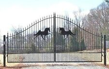 Driveway Gate 14' Wd, Inc Post Package, Steel Wrought Residential Home Security