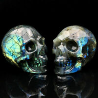 top!2Inch Natural Labradorite Quartz Skull Hand Carved Crystal Healing 1pc