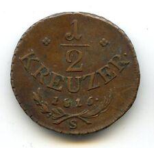 AUTRICHE 1/2 KREUZER 1816 S