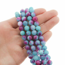 Round Natural Jade Beads 8mm - Sky Blue and Pink - 1 Strand 46 Beads - BD090