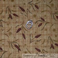 BonEful Fabric FQ Cotton Quilt Brown Plaid Harvest Wheat Thanksgiving Fall Farm