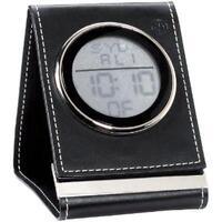 SETH THOMAS Black Leather Travel Alarm Desk Clock NEW
